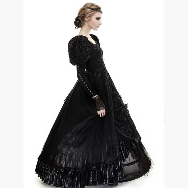 Schwarzes Gothic Brautkleid in viktorianischem Look