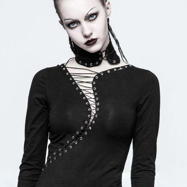 Asymmetrisches Gothic Kleid mit Schnürung und Halsband