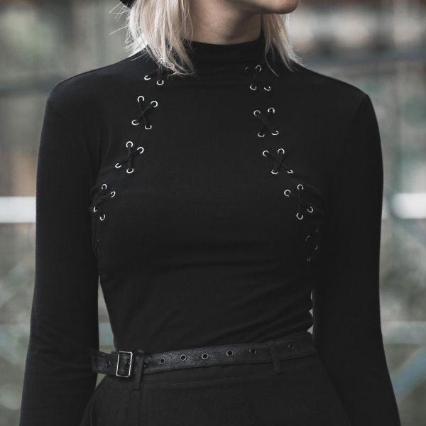Shirt mit sexy Zierschnürungen und Trompetenärmeln