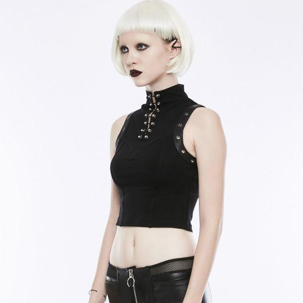 Daily Goth Top mit Stehkragen im Punk Style