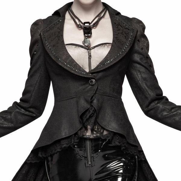 Sexy Blazer-Mantel in Lederoptik mit Jacquard Kragen