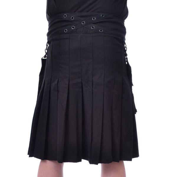Gothic Kilt mit Nieten und abnehmbaren Taschen