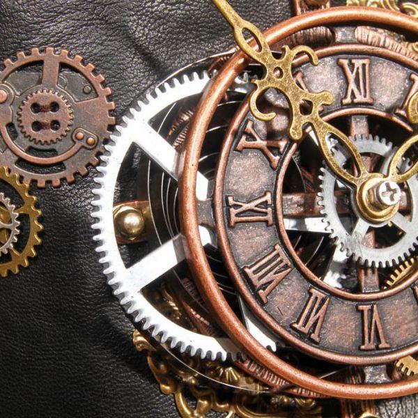 Steampunk Taillengürtel mit Uhrwerk Applikation