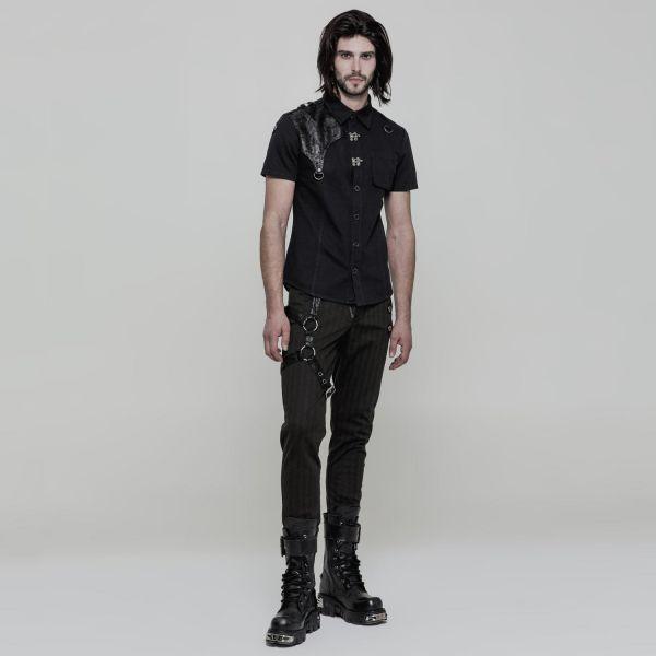 Gothic Style Slim Fit Hemd mit Metallriegeln