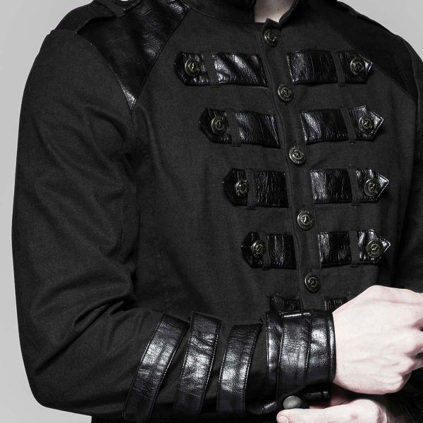 Schwarzes Uniform Hemd mit Stehkragen und Lederimitat