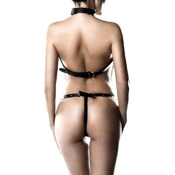 Ketten Harness im Bondage Leder Look mit String Tanga