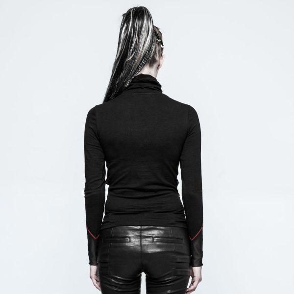 Punk Shirt mit Riemen, Netz und Schalkragen