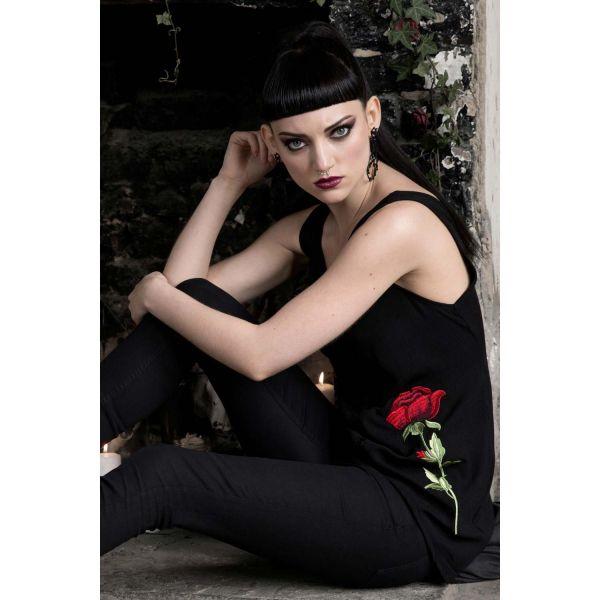 High Low Top im Gothic Style mit Rosen Stickerei