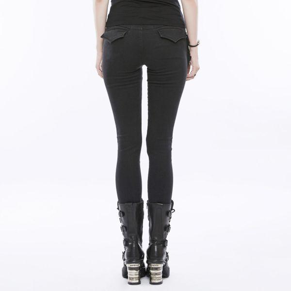 Slim Fit Daily Goth Hose mit Ziernähten und Tasche