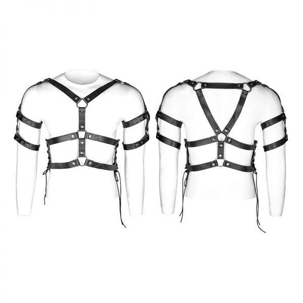 Lederimitat Harness mit O-Ringen und Schnürung