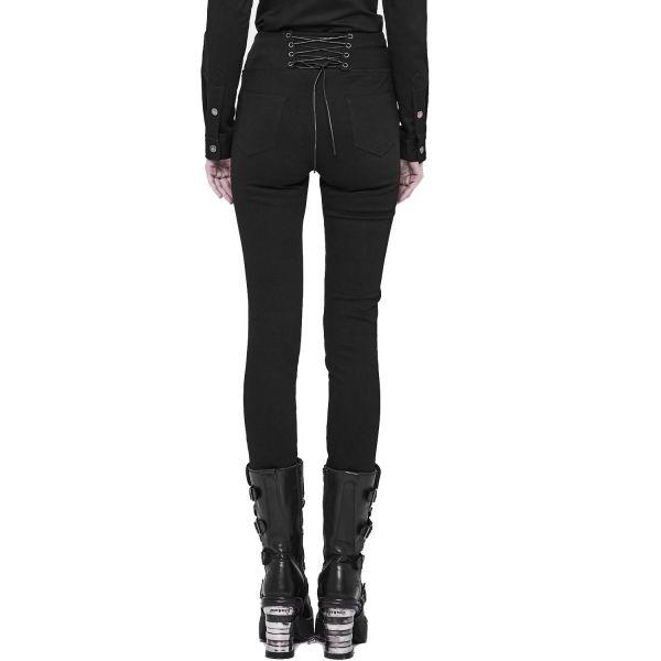 Schwarze Jeans mit Bund in Schnür Taillengürtel Optik