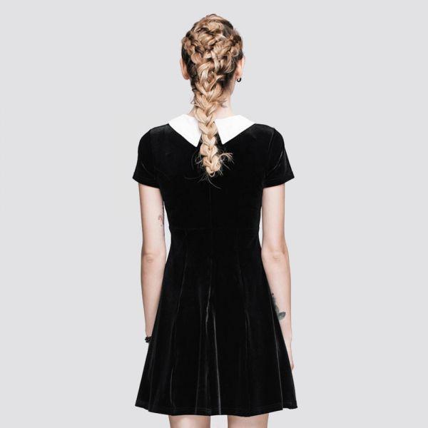 Schwarzes Samt Minikleid im Schulmädchen Look
