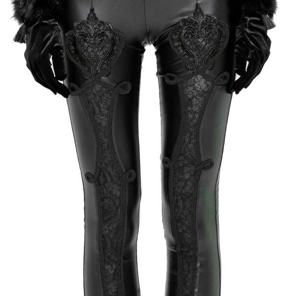 Lederlook Leggings mit Häkelspitze Ornamenten