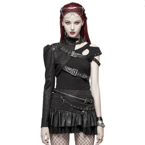 Cold Shoulder Gothic Top mit Cut-Outs und Riemen