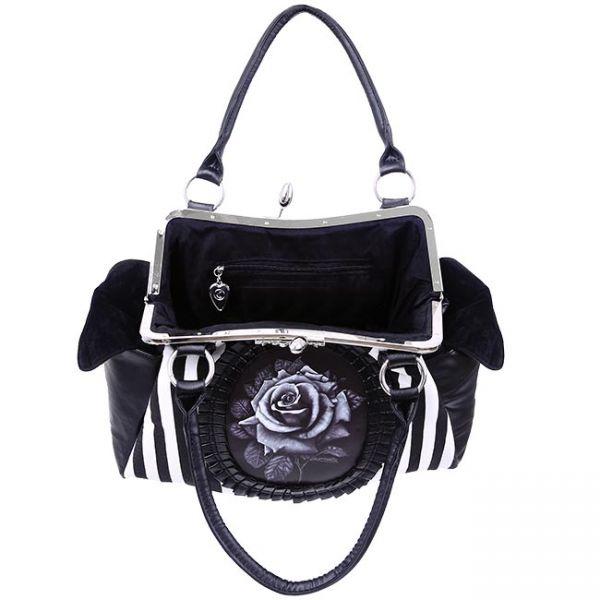 Gestreifte Handtasche mit Rosen Applikation - Black Rose