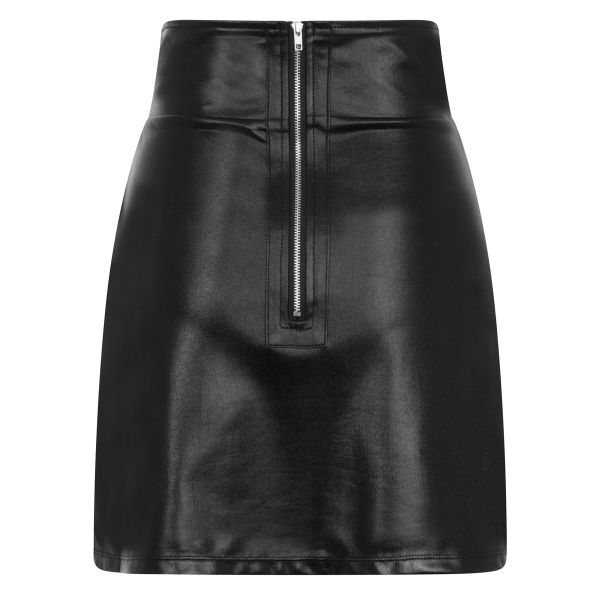 High Waist Wetlook Minirock mit Zipper am Rücken