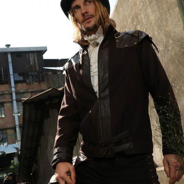 Steampunk Jacke mit Schulter Harness und Nieten