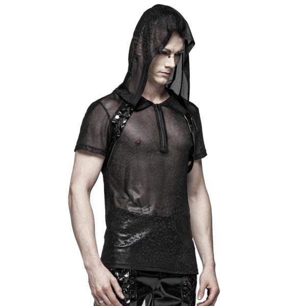 Transparentes Netz Fetisch Shirt mit Oversize Kapuze
