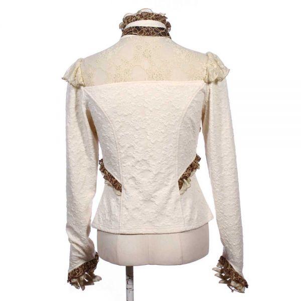 Viktorianische Bluse im Bolero Rüschen Look - creme