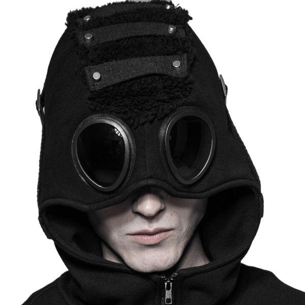Cyber Goth Kapuzenjacke mit Goggles im Reptilien Look