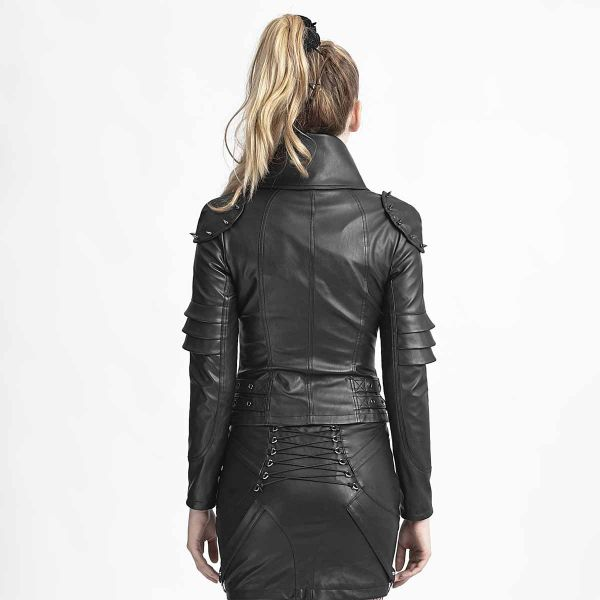 Futuristische Lederimitat Jacke im Warrior Girl Look