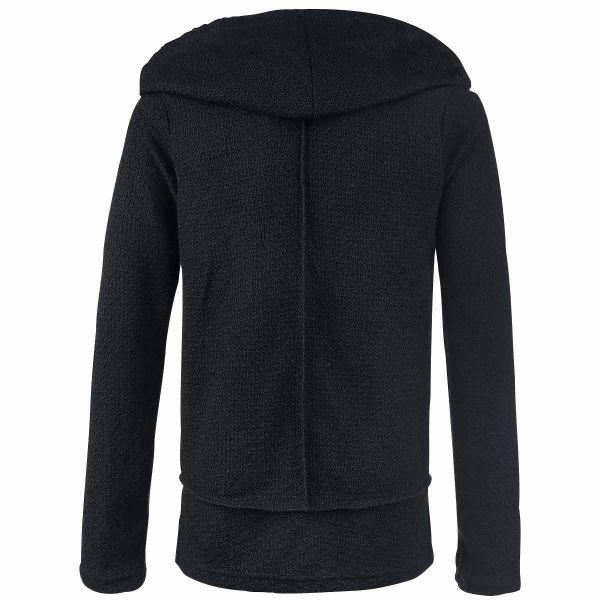 Schwarzer Pullover mit grossem Kapuzen Schalkragen