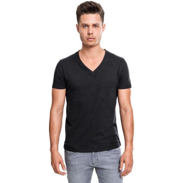 V-Neck T-Shirt mit Brusttasche