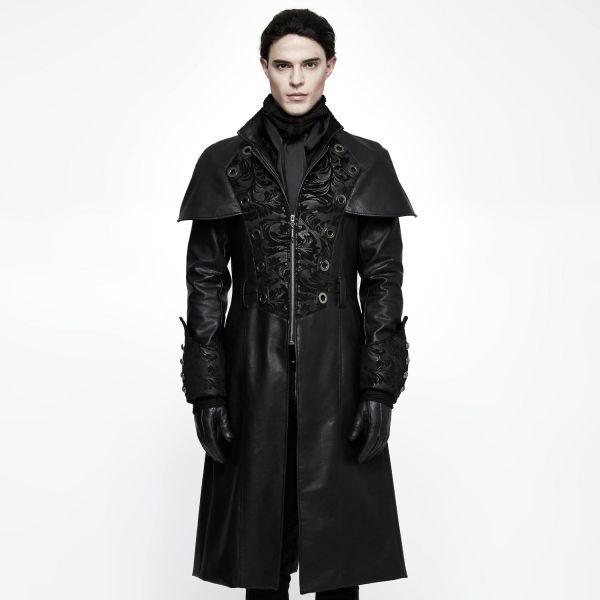 Gothic Mantel im Aristokraten-Look in Lederoptik