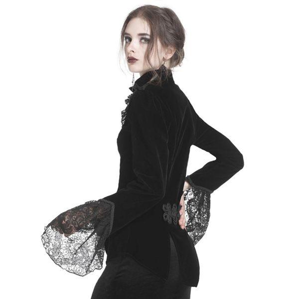 Gotische Blusen-Jacke mit Rüschenkragen und Spitze