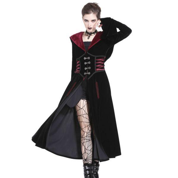 Gothic Samt Kapuzenmantel mit Taillengürtel