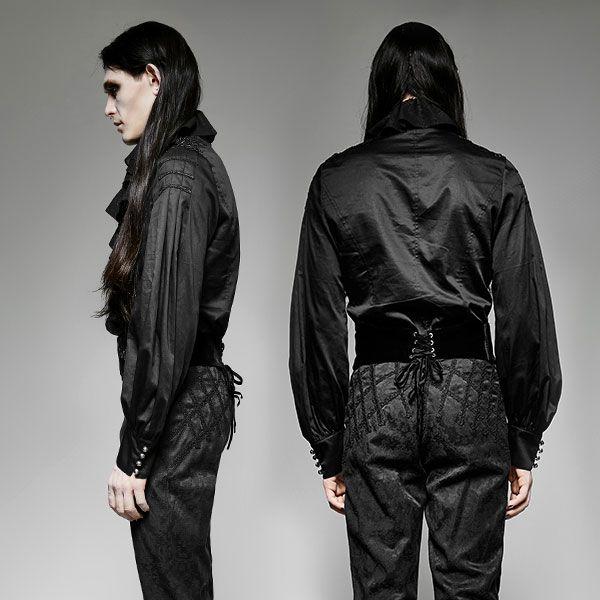 Rüschenhemd Mittelalter schwarz mit Schulterverzierungen