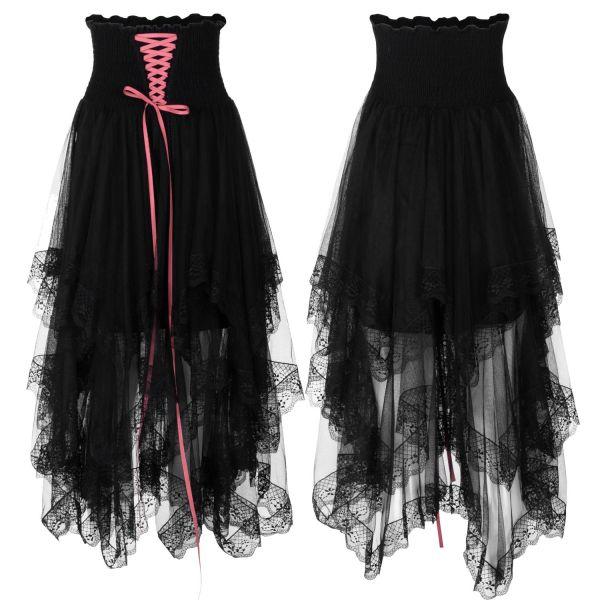 2-in-1 Rock Kleid aus Chiffon und Spitze mit Schnürung