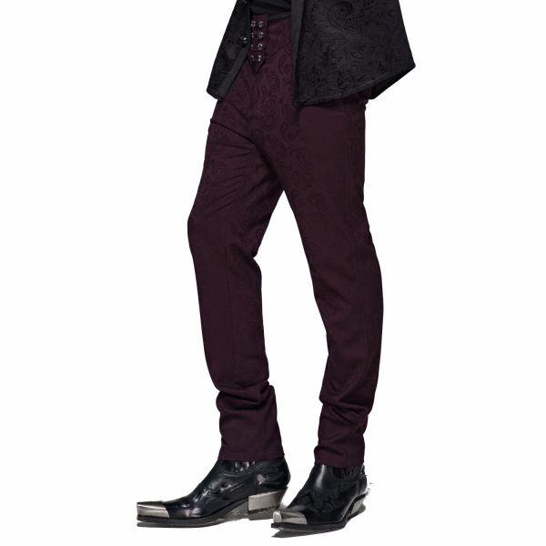 Hose mit Kummerbund in dunkelrotem Brokat Look