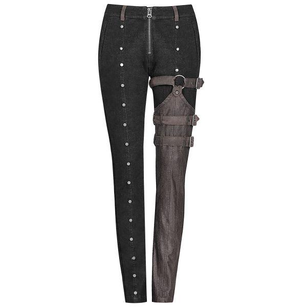 Steampunk Röhrenhose mit Bein Holster im Chaps Look