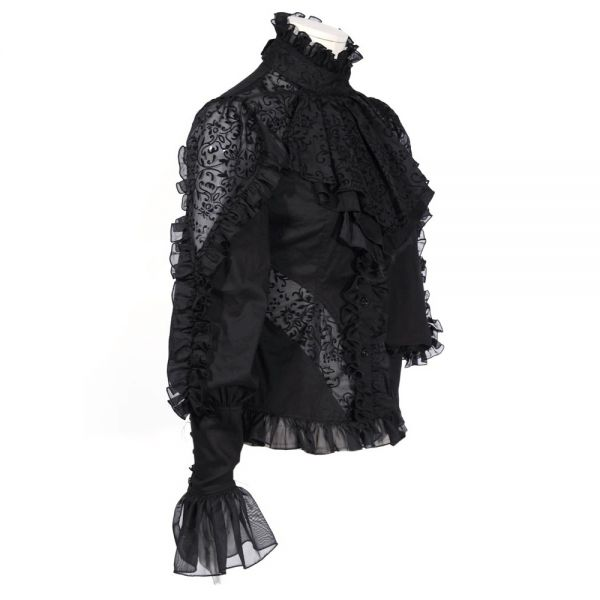 Viktorianische Gothic Lolita Bluse mit Rüschenkragen