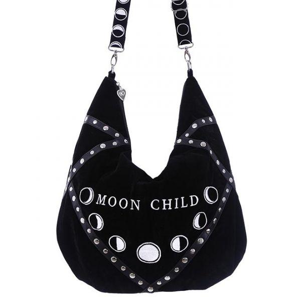 Schwarze Samt Schultertasche mit Nieten - Moon Child
