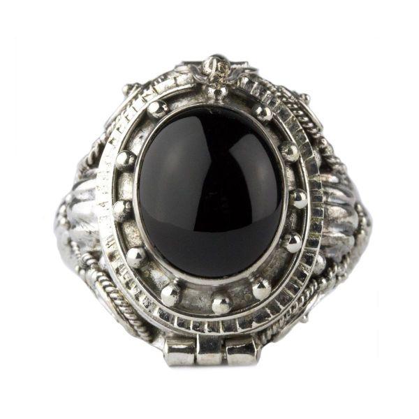 925er Silber Giftring mit Onyx