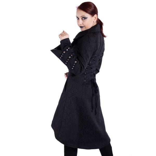 Brokat Gothic Mantel mit Schnürung und Reverskragen