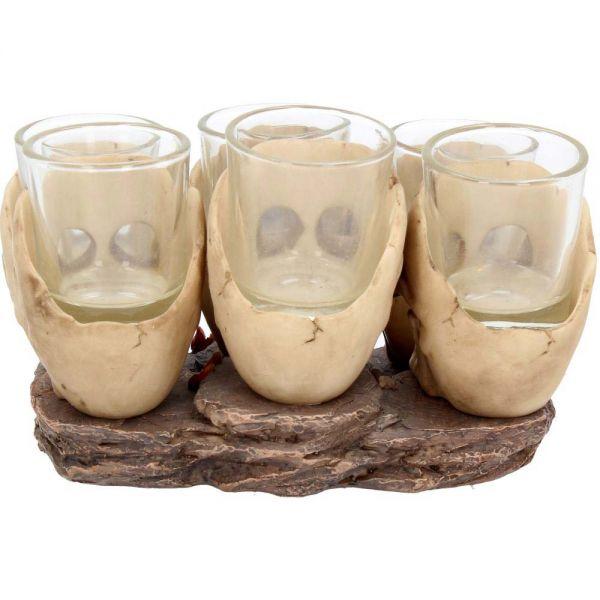 Totenschädel Schnapsgläser Ständer mit 6 Gläsern