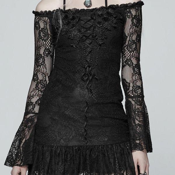 Dark Romantic Off-Shoulder Minikleid mit Spitzenärmeln