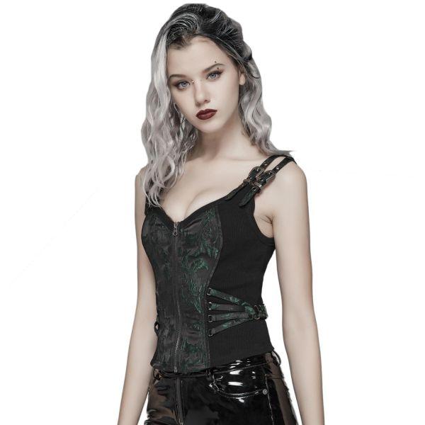 Punk Lolita Corsagentop mit Brokatmuster und Schnallen