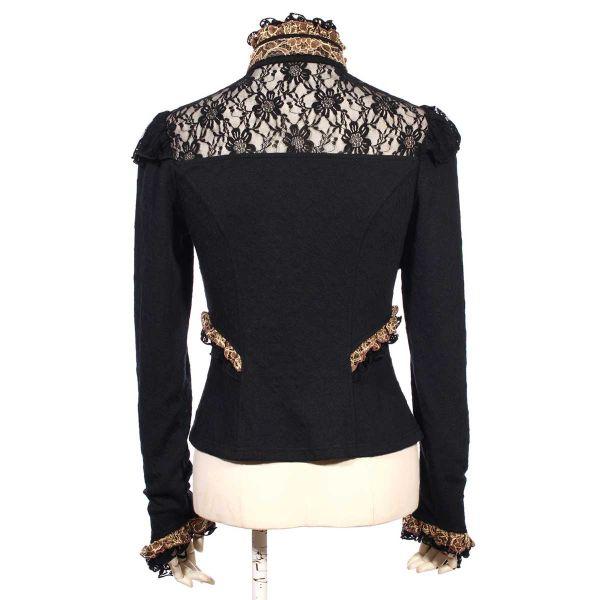 Viktorianische Bluse im Bolero Rüschen Look - schwarz
