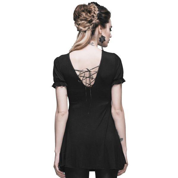 Dark Romantic Longshirt mit Spitze und Schößchen