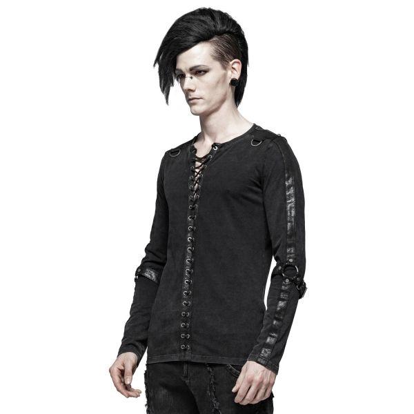 Langarmshirt im Grunge Style mit Lederimitat Schnürung