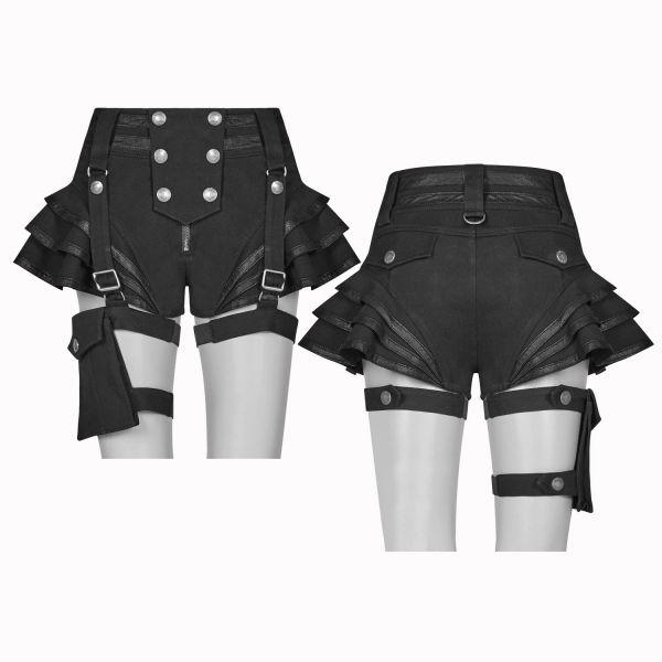 Gothic Shorts mit Rüschenvolants und Beinholster