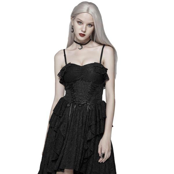 Gothic Vokuhila Spitzenkleid mit Tüll im Corsagenlook