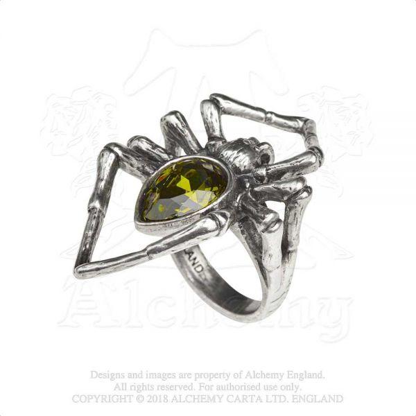 Gothic Style Spinnen Ring - Emerald Venom