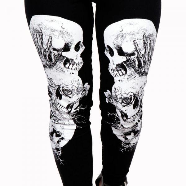 High Waist Gothic Leggings mit Totenschädel Print