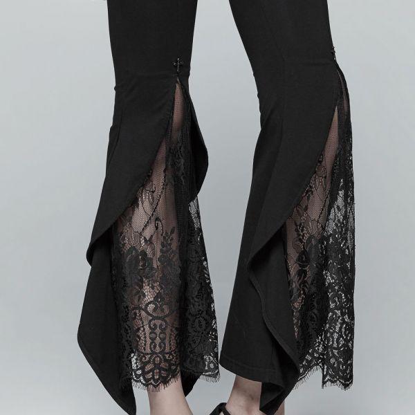 Dark Romantic Leggings mit Schlag und Spitzeneinsatz