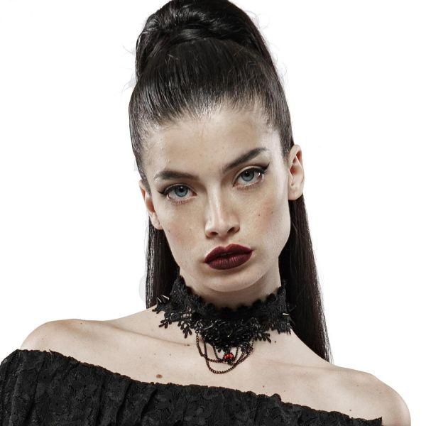 Häkelspitze Halsband im Bloody Roses Design mit Nieten